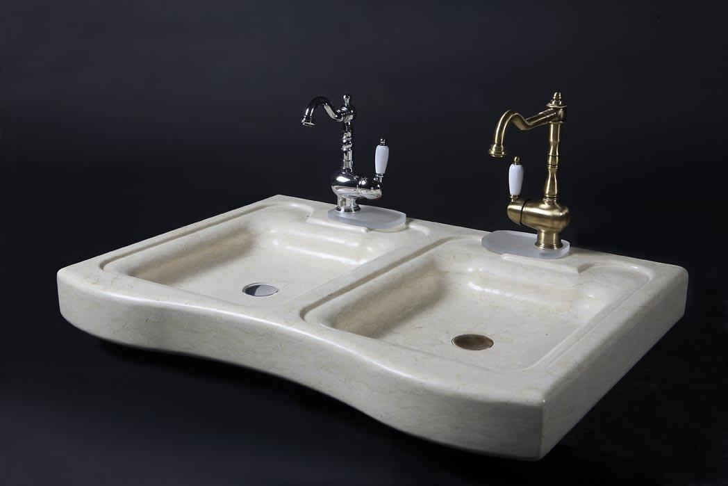Doppio lavello in marmo silvia oro